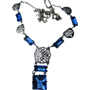 1920 -30s Art Deco Edwardian Rhodium Filigree drop Necklace Blue