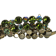 1950s Forest Greens and Aurora Borealis REGENCY Bracelet