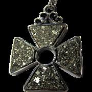 antique Victorian 800 silver Pyrite Maltese Cross pendant fob Fools Gold