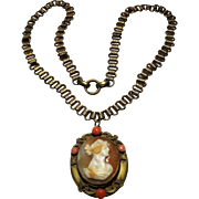 Huge antique Victorian Book chain Cameo Necklace locket Coral Bead accents gold filled bookchain