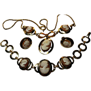 1960s vintage gold filled Carved Shell Cameo set Necklace Bracelet Earrings CM maker