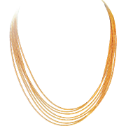 14k multi-strand rope Necklace Unoaerre Italy 7 strand