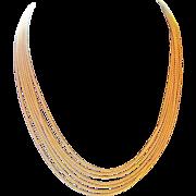 14k multi-strand rope Necklace Unoaerre Italy 7 strand