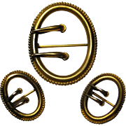 Art Nouveau 3 piece Buckle motif pin brooch set