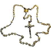 Stunning early Sterling Mother of Pearl Rosary Italy