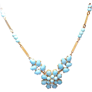 early Brass turquoise Peking Glass Necklace unsigned Czech