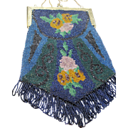 wonderful Antique large Beaded Bag Purse Blue Green Flowers