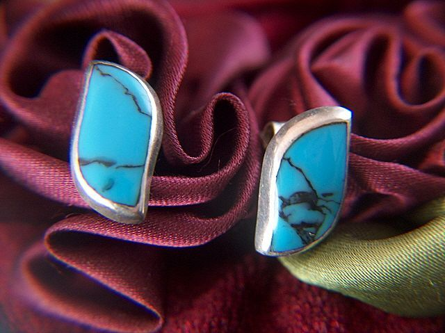 Vintage signed Mexico Sterling Silver Blue Veined Glass Post Earrings