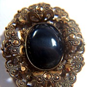 Vintage Victorian Oval Stamped Brass Pin Brooch ~ ca. 1870 - 1880