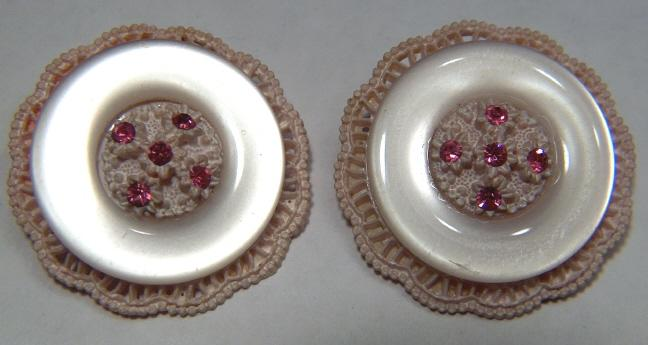 Vintage Celluloid and Moon Glow Floral Clip Earrings ~ Rhinestones ~ signed Japan