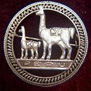 Vintage Sterling Silver Peru Souvenir Llamas Pin Brooch