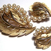 Vintage signed Trifari Leafy Swirls and Faux Pearls Brooch and Earrings ~ Demi Parure