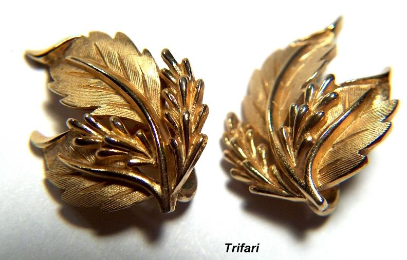 Vintage signed Trifari Golden-Toned Leaf Clip Earrings
