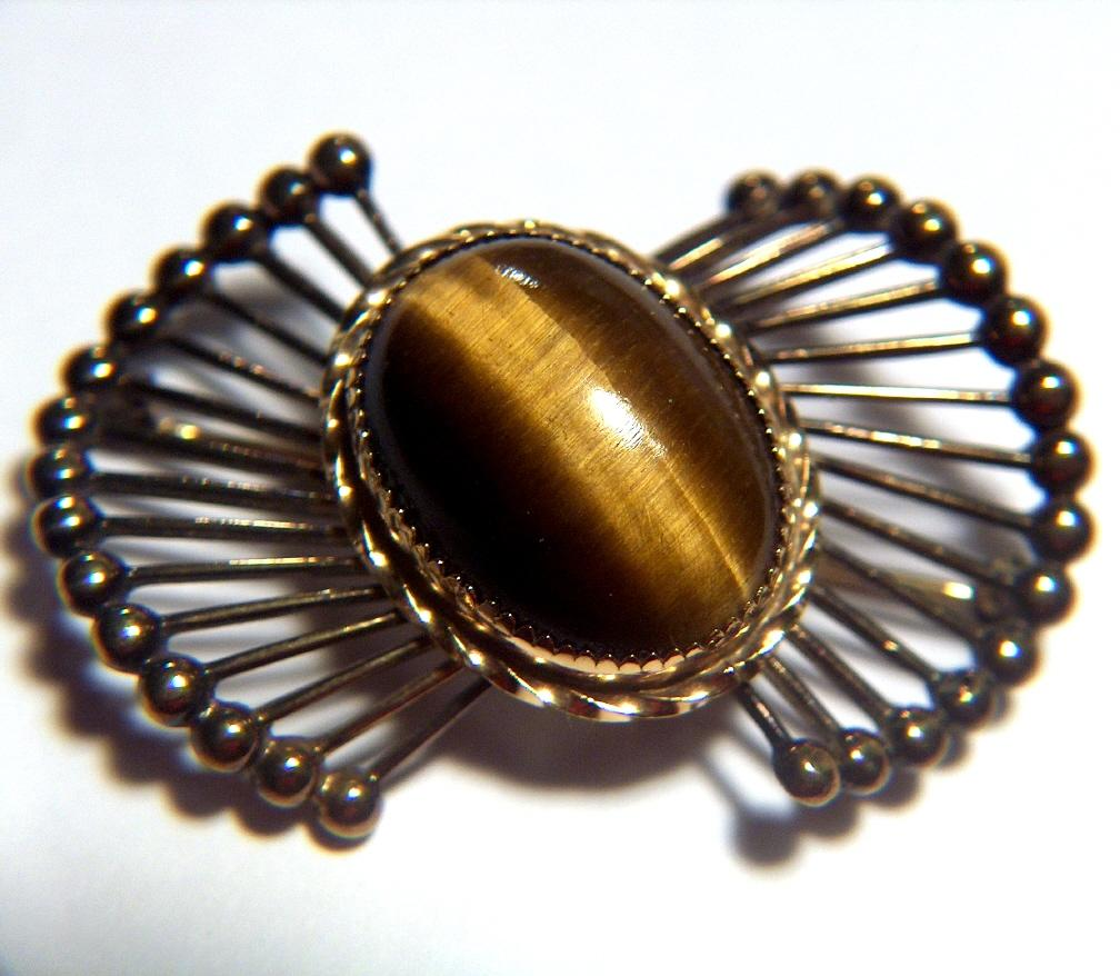 Vintage signed 1950s Wells Sterling Vermeil Atomic Pin Brooch ~ Huge Tiger's Eye Cab