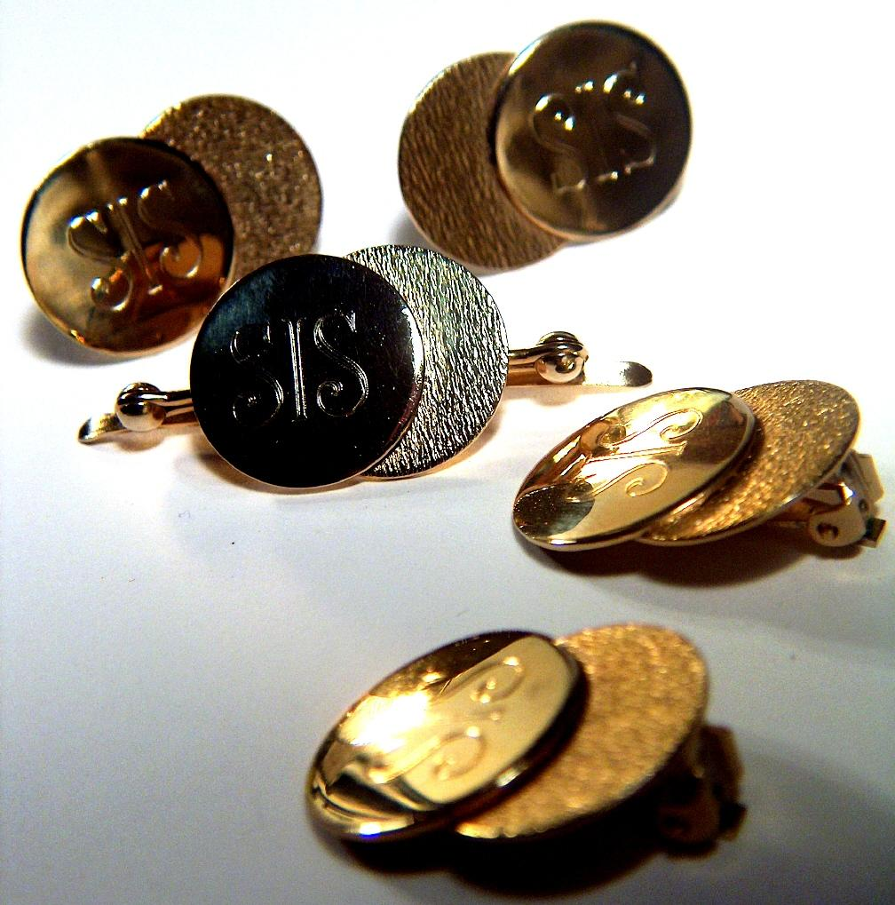 "Vintage Monogrammed ""SIS"" Gold-Toned Set of 5 Pieces - Clip Earrings, Cuff Links, Collar Clip"