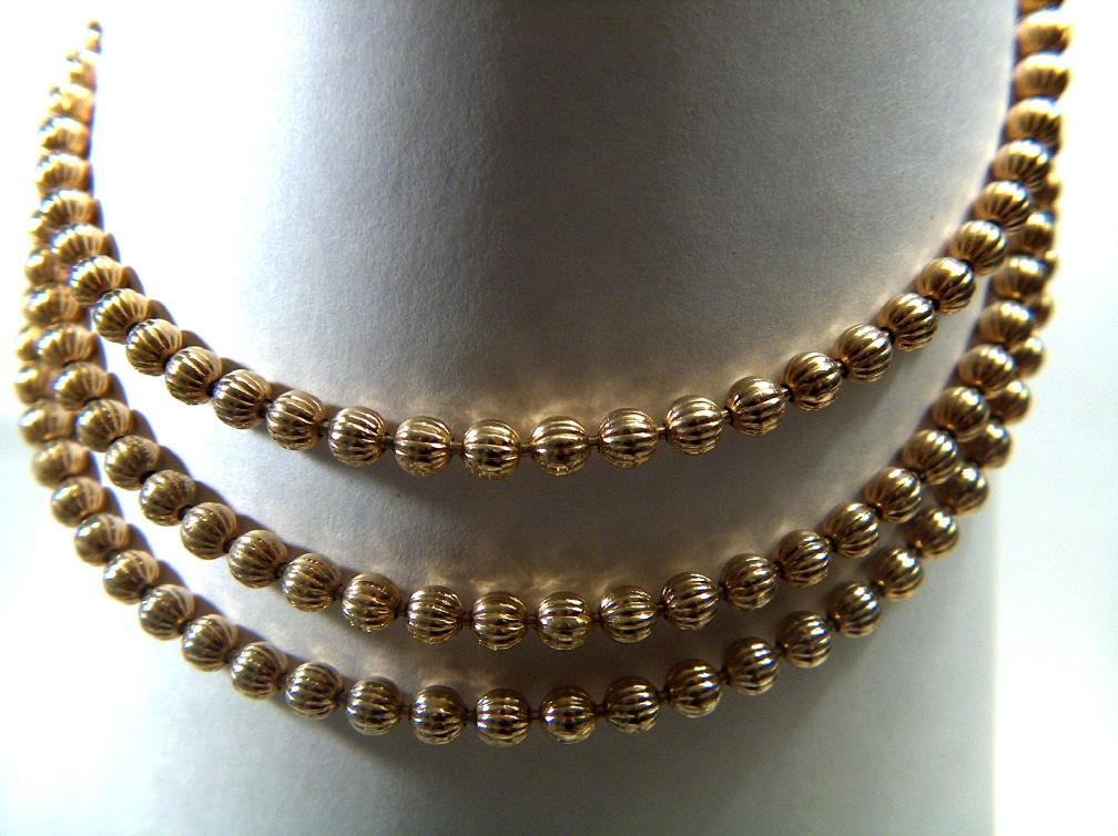 Vintage 3-Strand Gold-Toned Ridged Bead Necklace