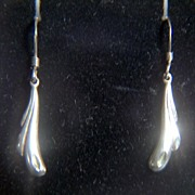 Vintage Sterling Small Drop Earrings ~ French Wires
