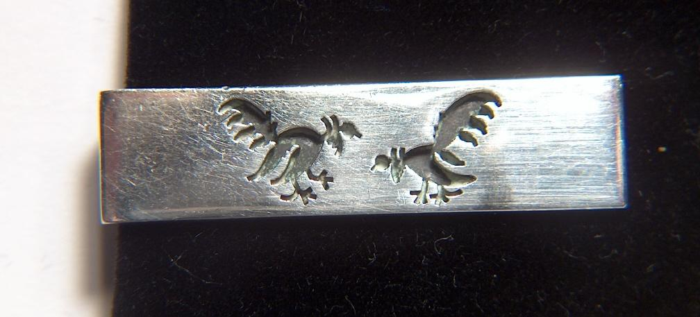 Vintage signed ROMERO TAXCO 925 Mens Tie Bar / Clasp ~ Mexican Sterling Silver ~ Fighting Cocks