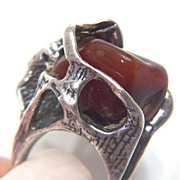 Vintage Huge signed Israel Sterling Silver Modernist Ring