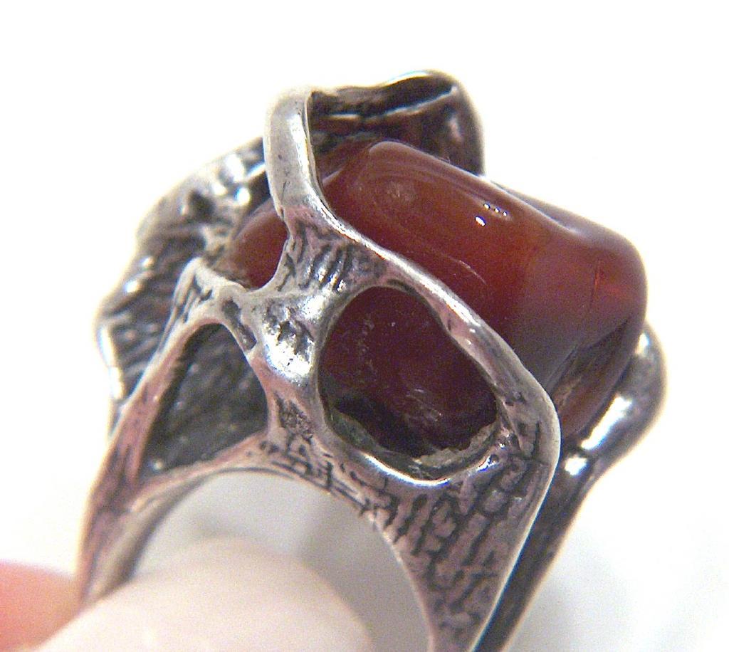 Vintage Huge signed Israel Sterling Silver Modernist Ring