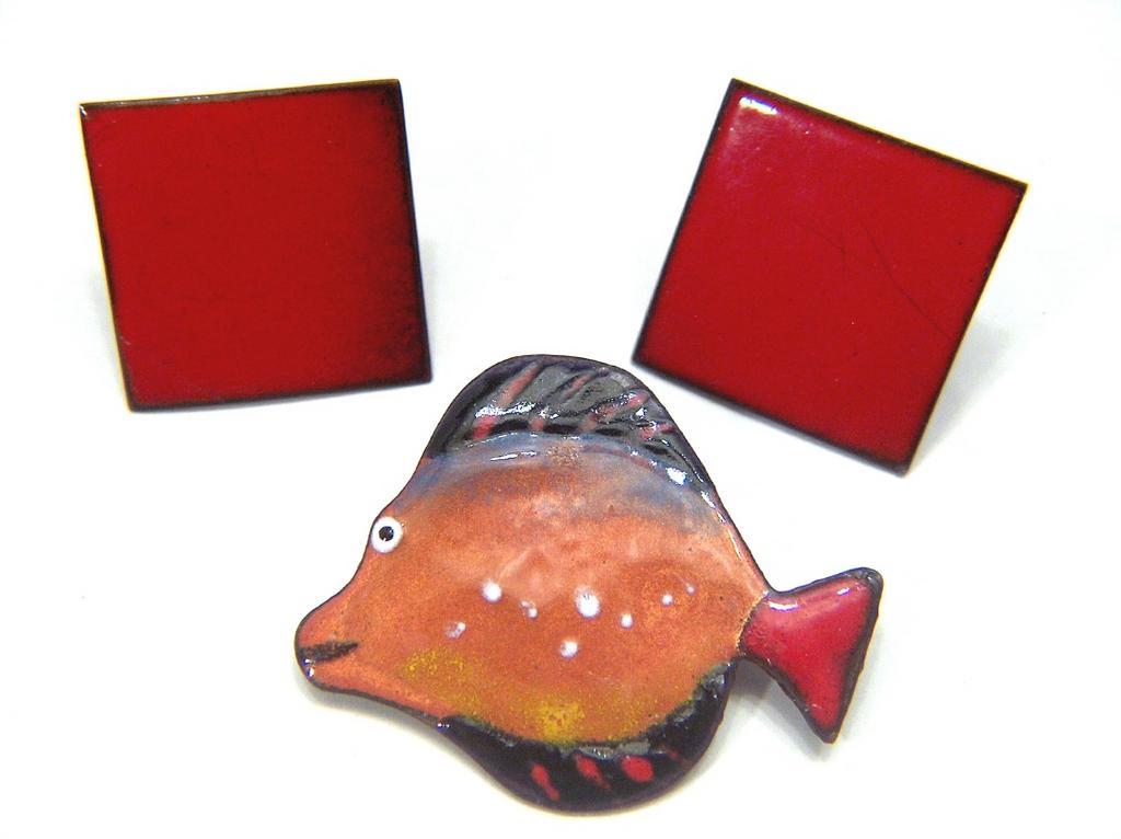 Vintage Enamel Fish Pin Brooch & Screw Back Earrings ~ Brilliant Red Orange Colors