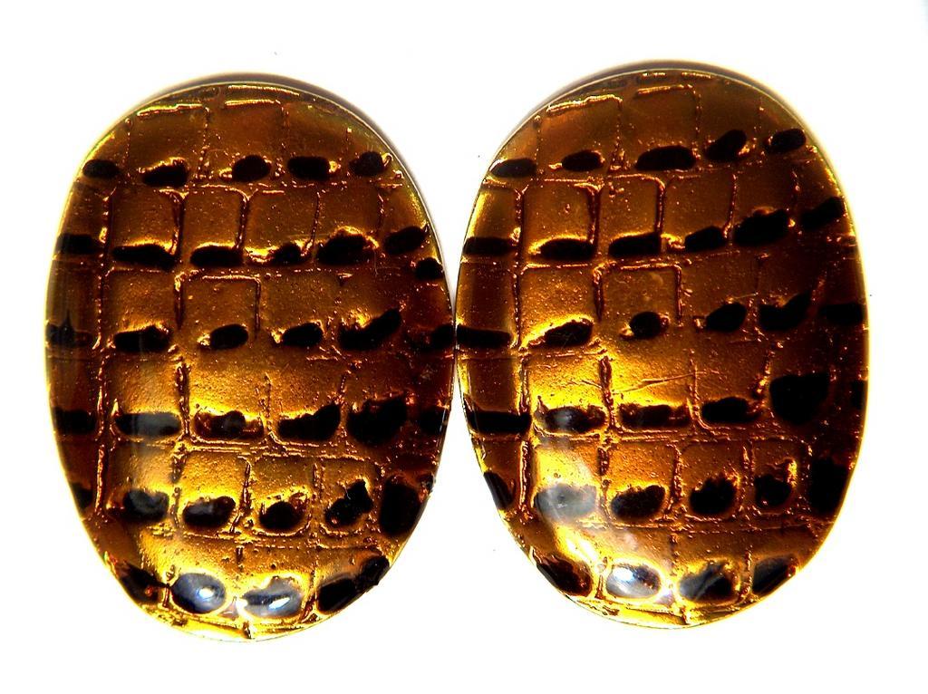 Vintage signed MILA SCHÖN Unique Tribal Snakeskin Enamel Clip Earrings ~ Basse-taille Bold Shields