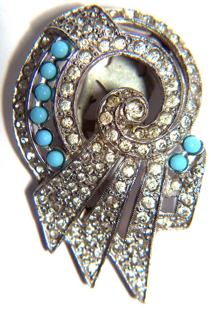 Vintage Rhinestone and Blue Glass Dress Clip