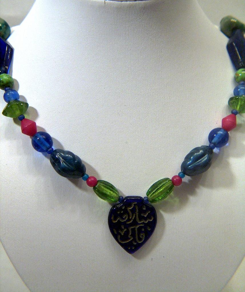 Vintage signed Teresa Goodall Colorful Beaded Necklace ~ Hand Made Stoneware Beads