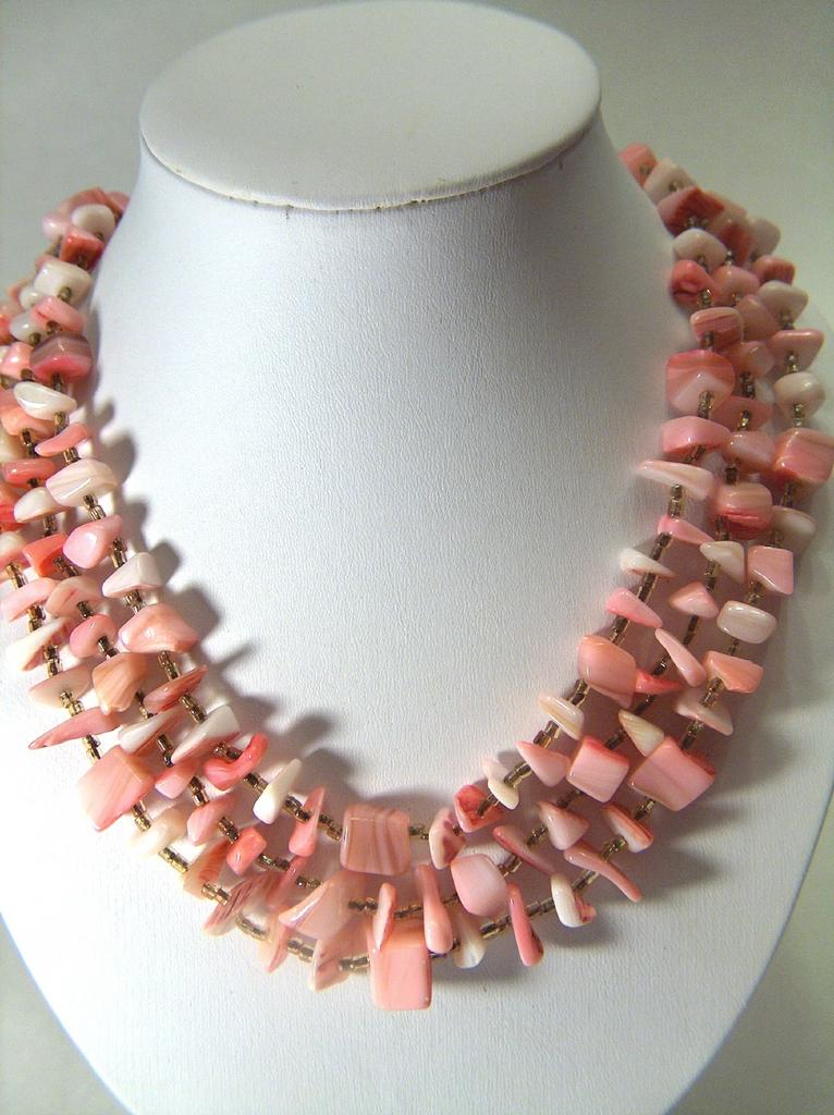 Vintage signed Japan Pretty in Pink Mother of Pearl Shell Three Strand Necklace