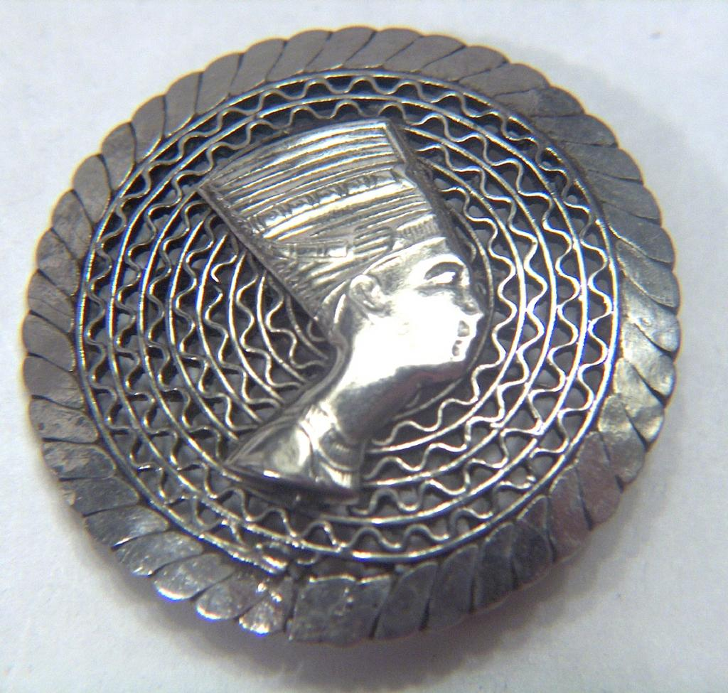 Vintage 800 - 900 Egyptian Silver Filigree Nefertiti Pin Brooch ~ 1910 - 1920