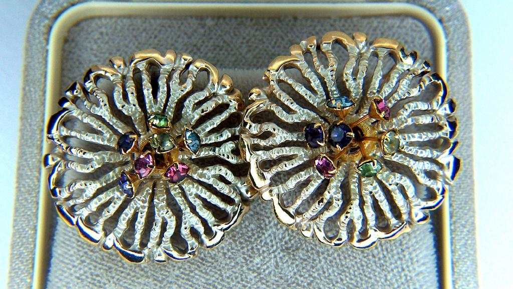 Vintage Open Work Golden Toned Clip Earrings ~ Silver Enamel with Dangling Rhinestone Centers