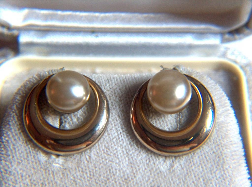 Vintage signed STERLING Vermeil Faux Button Pearl Screw Back Earrings