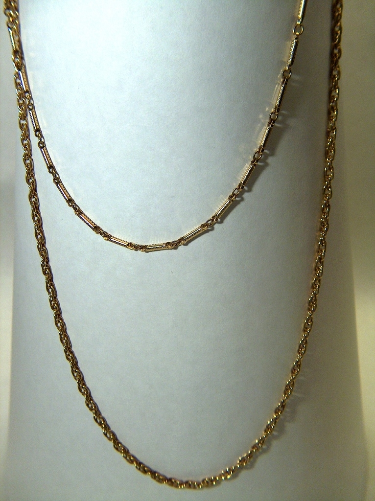 Vintage signed HMS Golden Toned Double Strand Chain Necklace