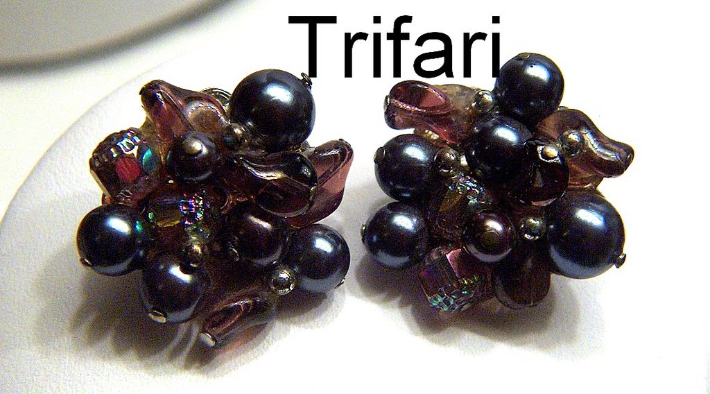 Vintage signed Trifari Art Glass Beads and Black Faux Pearl Clip Earrings