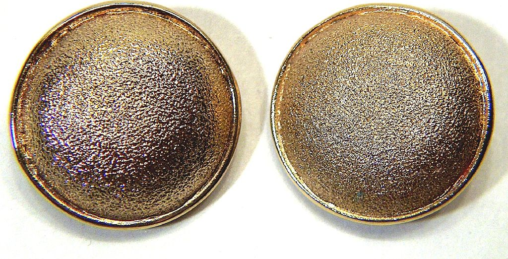 Vintage signed St. John Gold Plated Round Textured Button Clip Earrings