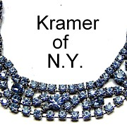Vintage signed Kramer of NY Baby Blue Prong Set Rhinestone Bracelet