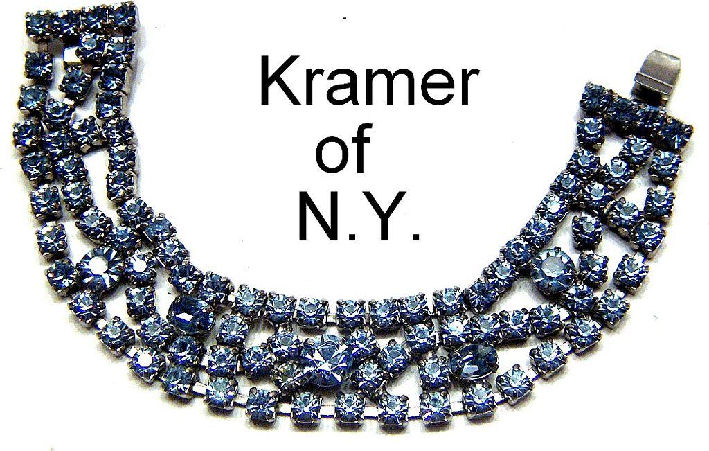 Vintage signed Kramer of NY Baby Blue Prong Set Rhinestone Bracelet