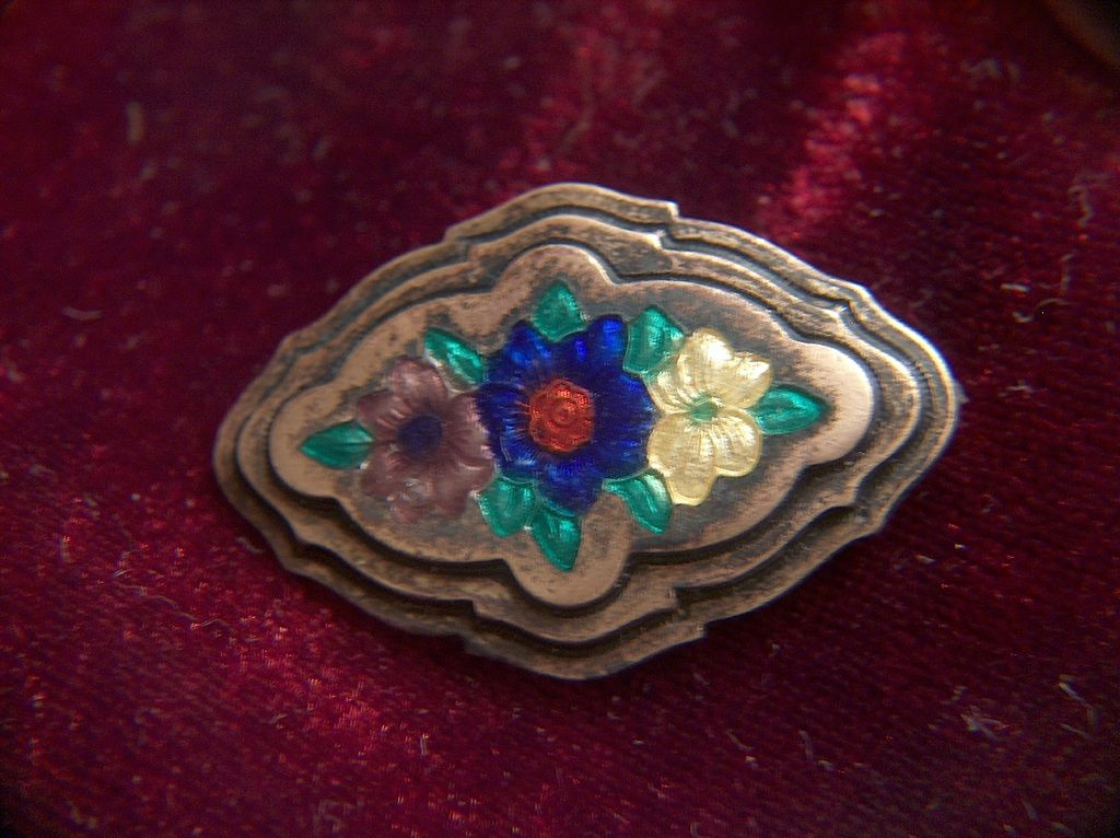 Victorian Basse Taille Enamel Flowers on Brass Pin Brooch