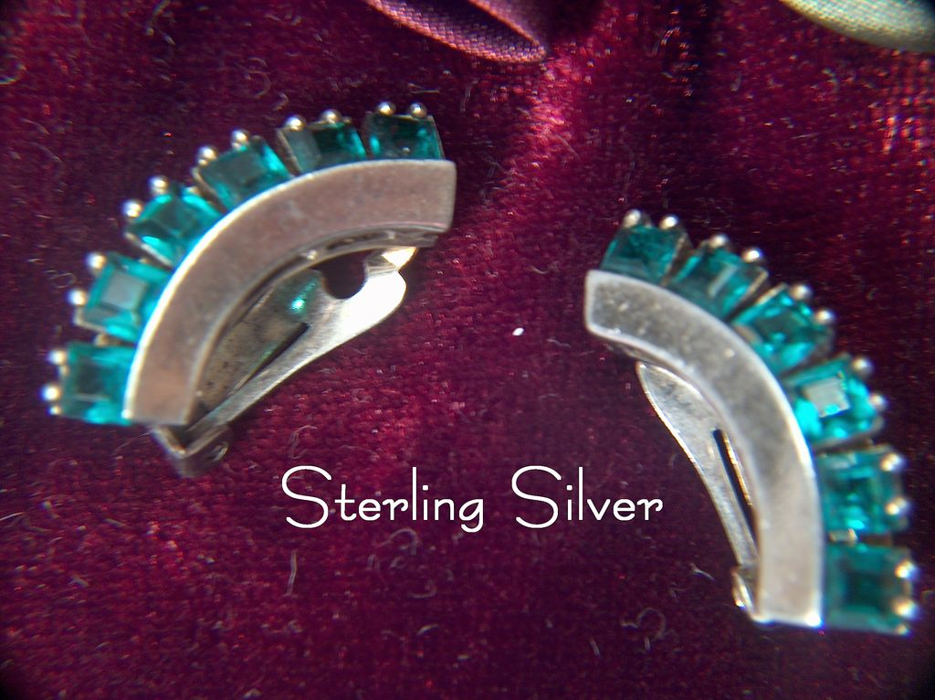 Vintage signed Sterling Sterling Silver Clip Earrings ~ Square Cut Glass Stones