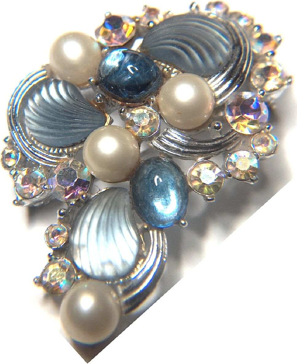 Vintage signed KARU Arke Inc Rhinestone Faux Pearls and Fruit Salad Pin Brooch