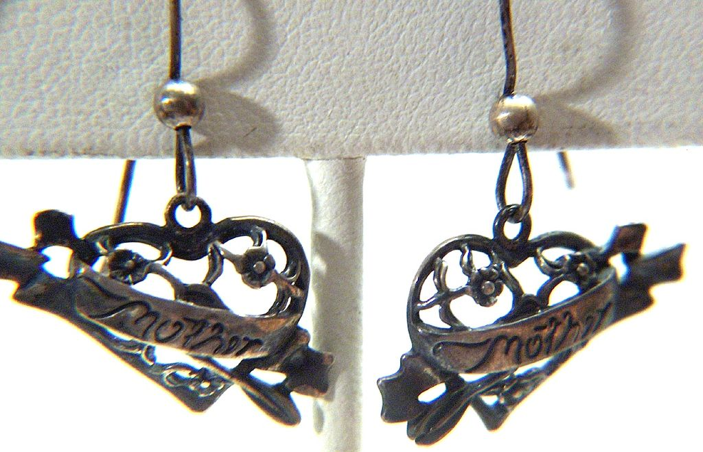 Vintage signed J Sterling Silver Sterling Silver Mother Pierced Earrings