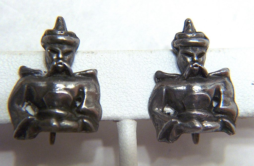 Vintage Ghengis Khan Character Screw Back Earrings