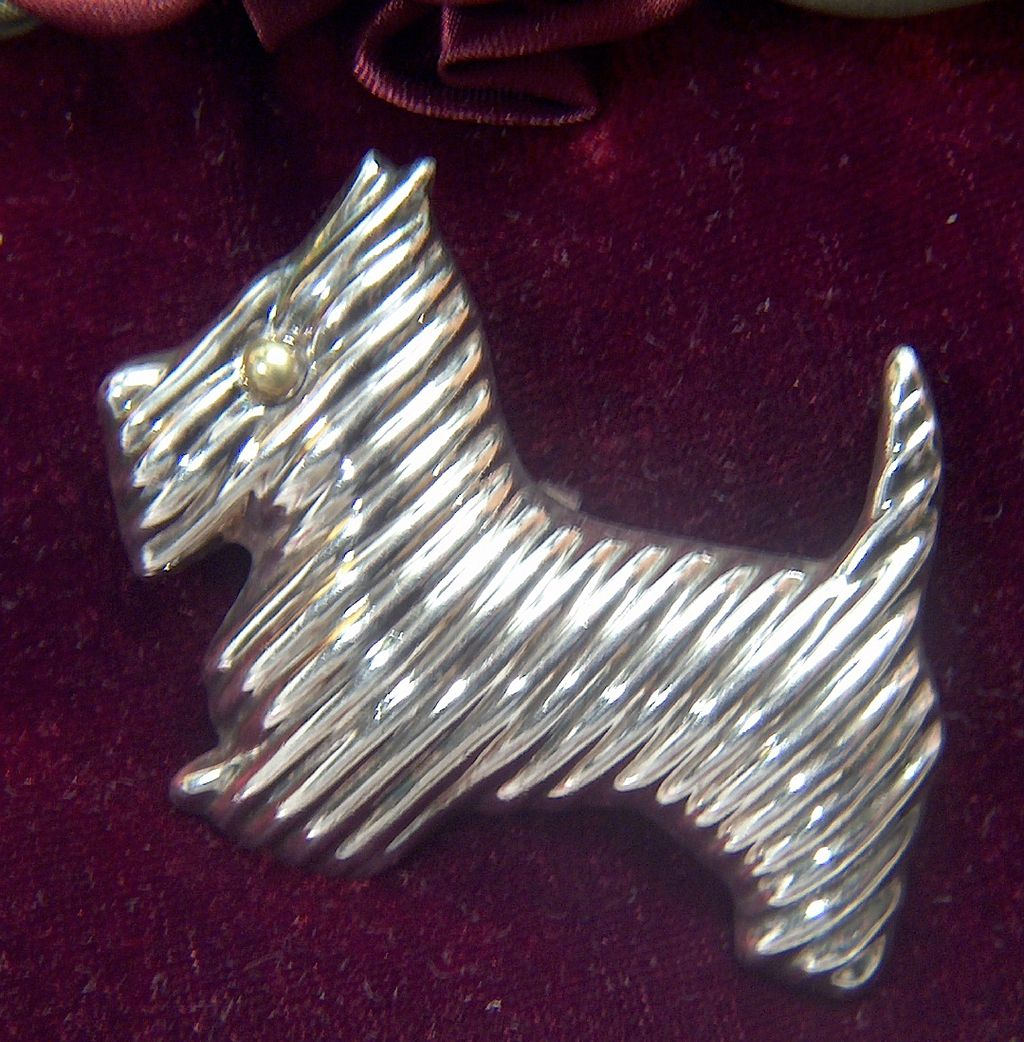 Vintage signed Taxco Mexico Sterling Silver Scottie Dog Pin Brooch