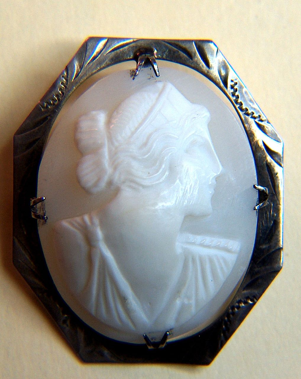 Vintage White on White Shell Cameo Sterling Silver Pin Brooch
