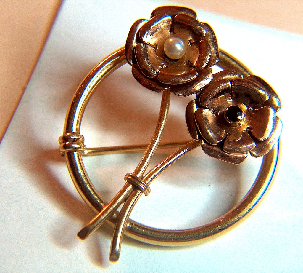 14K Yellow and Rose Gold Pearl Garnet Pin Brooch  ca 1910