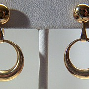 Vintage 14K Yellow Gold Screw Back Dangling Hoop Earrings