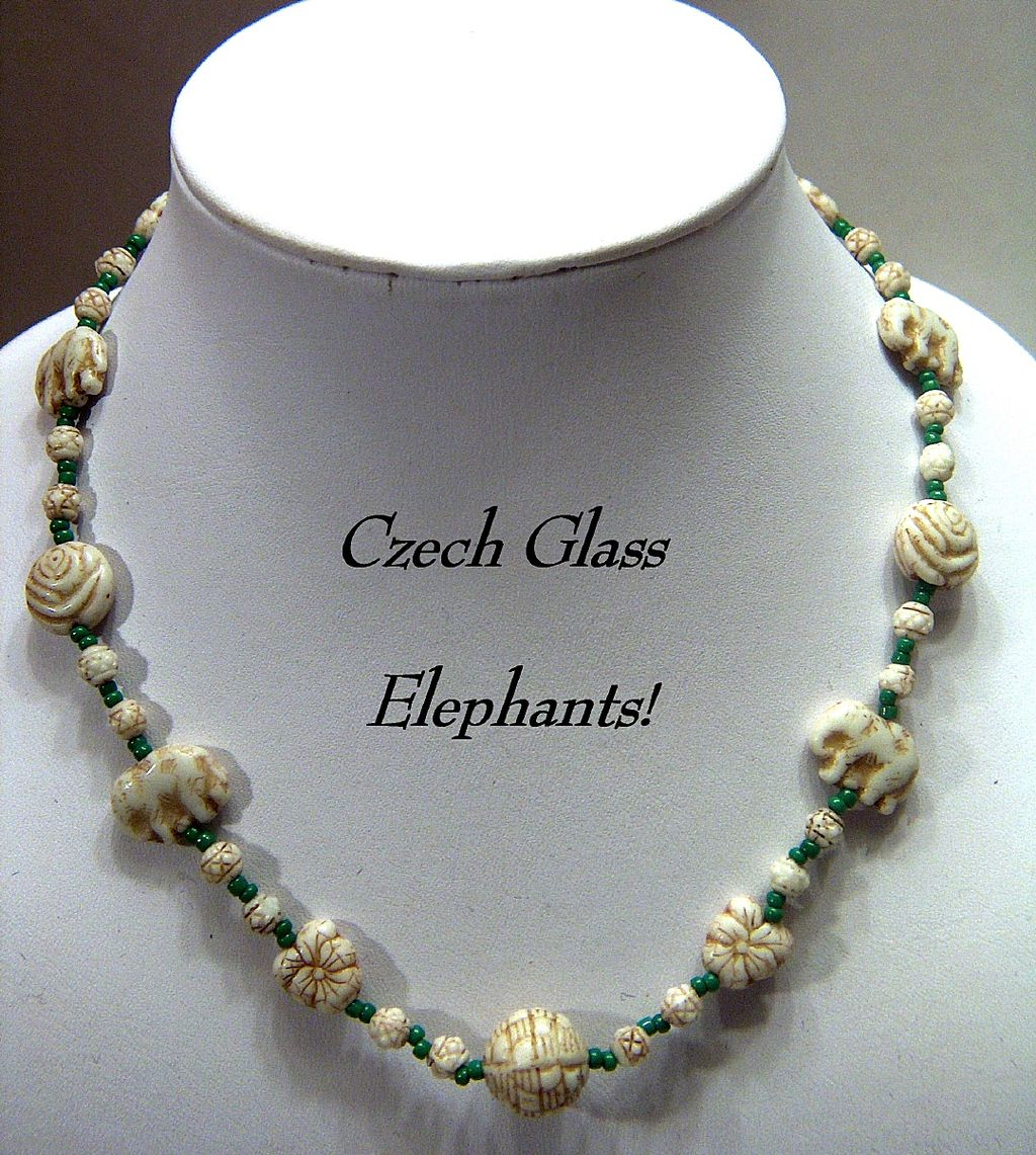 Vintage signed Czechoslovakia Cream & Green Molded Glass Beads Necklace ~ Elephants