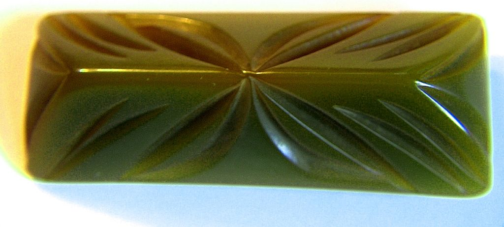 Vintage Rectangular Deeply Carved Green Bakelite Pin Brooch