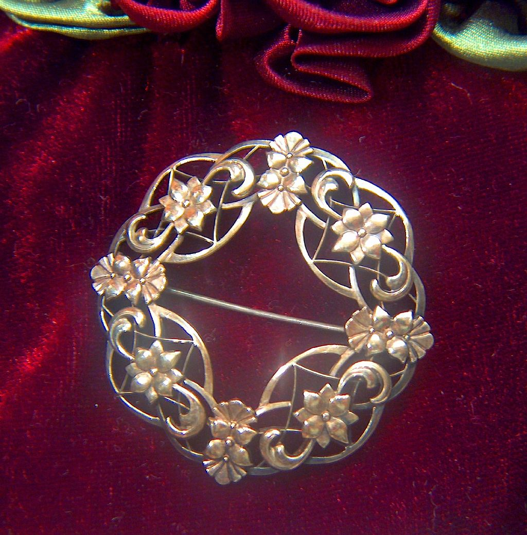 Vintage 1930s signed Symmetalic Sterling +14K Art Deco Style Pin Brooch