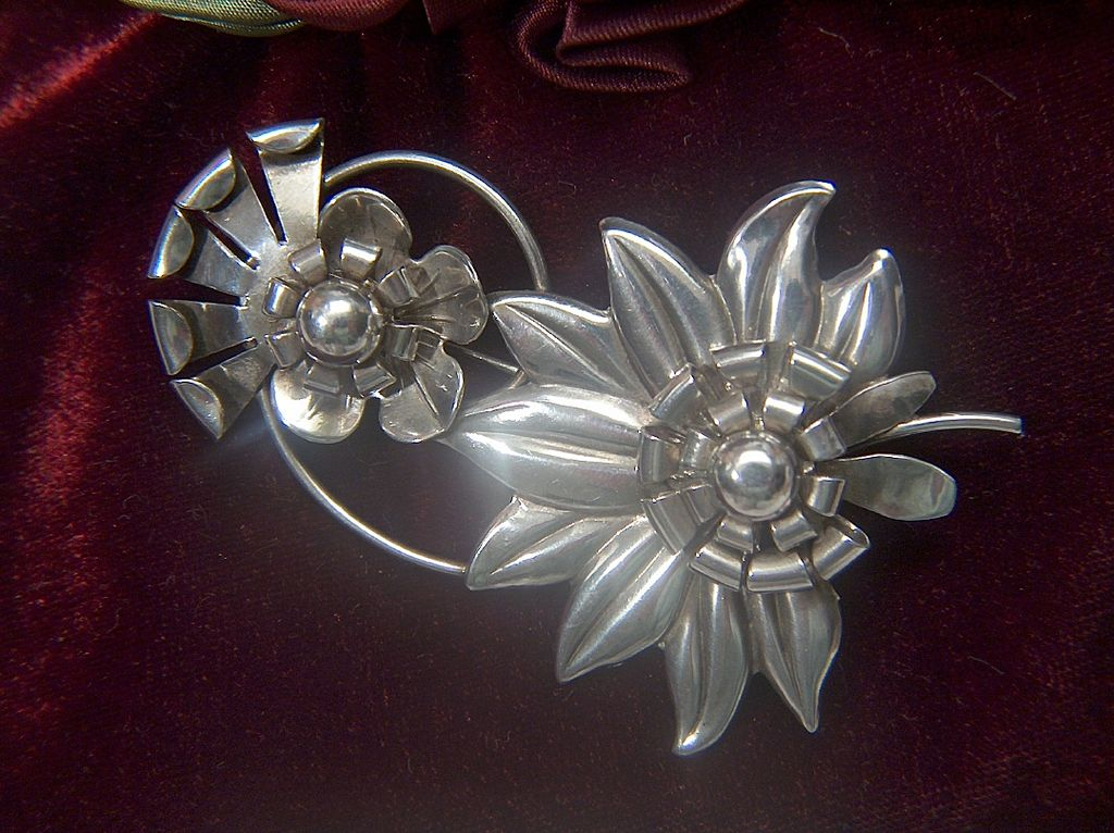 "Vintage STUNNING 1930s Retro Sterling Silver BIG BOLD 3"" Floral Pin Brooch"